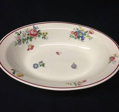 "Shenango Restaurant Ware Sho124 Oval Vegetable Bowl 10 3/8"" Floral Red Trim"
