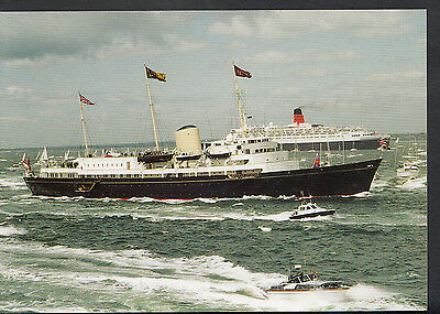 Shipping Postcard- Royal Yacht Britannia & Queen Elizabeth 2 In The Solent C1263