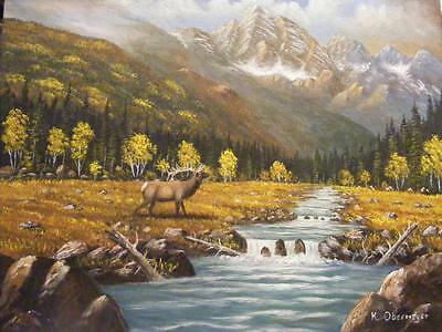 PAINTING BULL ELK WAPITI with ANTLERS MOUNTAIN landscape Hunting Hunter  art