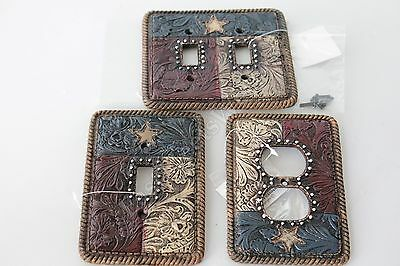 Western Rustic Floral Texas Flag Star Switch Rocker Plate Outlet Cover Rope Edge