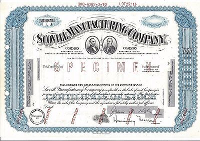"Scovill Manufacturing Company (Waterbury Ct)....abn ""specimen"" Stock Certificate"