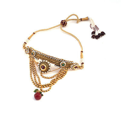 Indian Ethnic Bollywood Gold Plated Armlet in Green and Drop Red Stone and Pearl