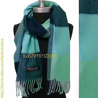 New 100%CASHMERE SCARF Check Plaid Scotland Soft Warm Wool Color Blue/Green
