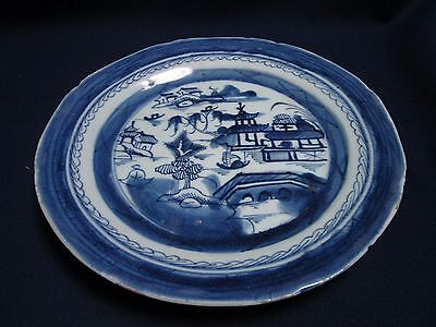 """Antique 9"""" Canton Chinese Export Plate Blue & White"""