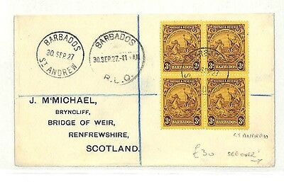 AB132 1927 Barbados St Andrew Renfrewshire Scotland Cover {samwells-covers}PTS