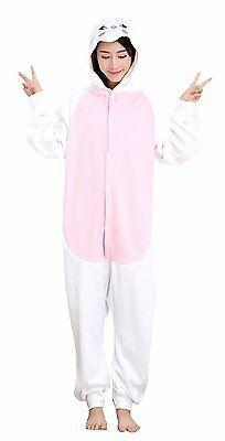 MizHome White Rabbit Polar Fleece Kigurumi Costume One-Piece Pajamas M