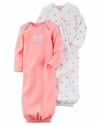 New Carter's 2 Pack Sleep Bag Or Gown size Newborn NWT Gowns Butterfly Flo Girls