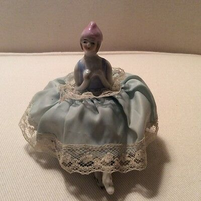 Vintage/Antique Porcelain Half Doll Pin Cushion Girl with Legs in Blue Dress