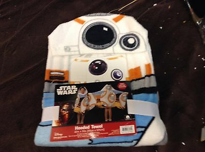"NEW STAR WARS BB-8 EPISODE 7 HOODED TOWEL 100% COTTON 22"" x 51"""
