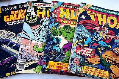 Marvel Treasury Edition lot: , Thor,  And The Hulk BATTLESTAR GALACTICA LOT OF 4