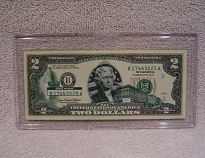 Wyoming  $2 Two Dollar Bill - Colorized State Landmark - Uncirculated Authentic