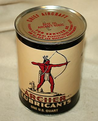 VINTAGE ARCHER LUBRICANTS CHIEF AIRCRAFT OIL CAN ~ 1 Qt. CAN! NR!
