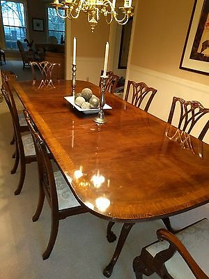 Extra Long Drexel Heritage Mahogany Dining Room Set including 8 chairs