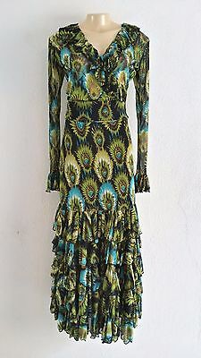 Flamenco skirt Outfit two piece set new size Small /Medium  Stretch mesh peacock