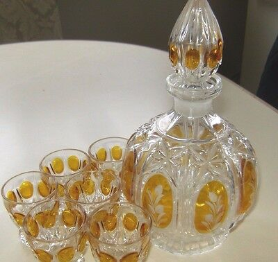7 pc Czech Amber on Clear Art Glass Decanter & Cordial Set, Hand Etched