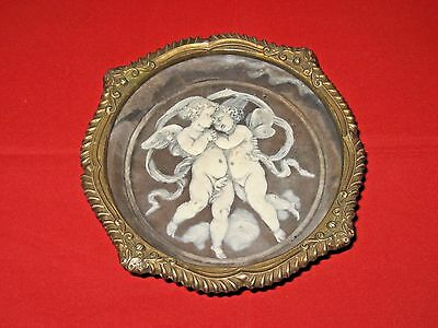 """Vintage Incolay Cameo """"Cherubs"""" Gold Trimmed Bowl/Ashtray By Coralay Classics."""