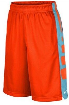 Nwt Boys Nike Elite Stripe Shorts Youth Medium Orange Blue Dri-Fit