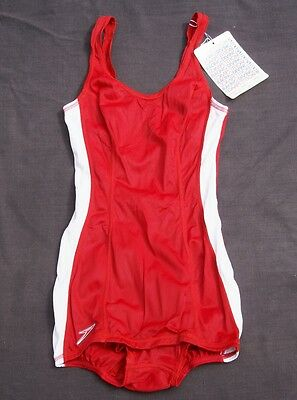 vtg 70s SPEEDO RED 1pc competition racing SWIMSUIT 32L DEADSTOCK NO W/  tags
