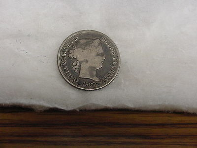 1863 Spain 4 Reales Silver Coin Circulated