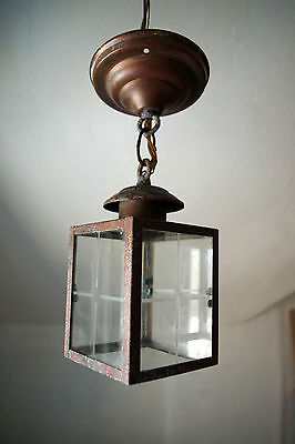 vtg 70s/80s Arts & Crafts Style Ceiling Lamp Copper Patina Verdigris Weathered