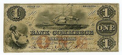 1861 $1 The Bank of Commerce - Savannah, GEORGIA Note w/ SHIP + SLAVE