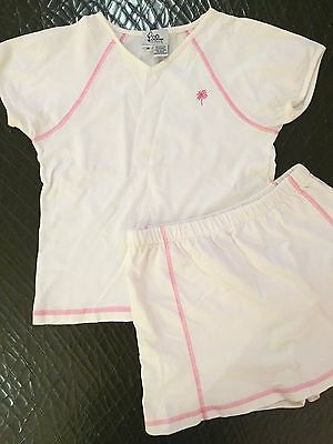 Lilly Pulitzer girls sz 14 2 pc white pink SS tennis outfit w/skort Cotton VGUC
