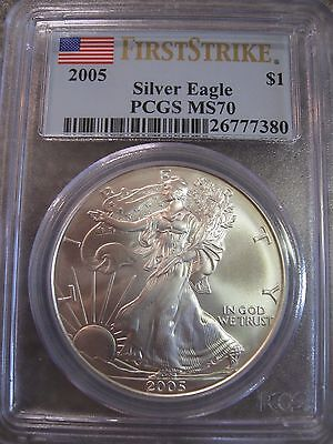 2005 Silver Eagle-First Strike PCGS MS70