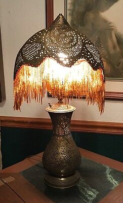 Smallish Antique Pierced Brass Ottoman Empire Turkish Beaded Lamp Light Up Base