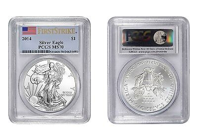 2014 American FLAG Silver Eagle $1 ONE DOLLAR PCGS MS 70 First Strike MS70 GEM