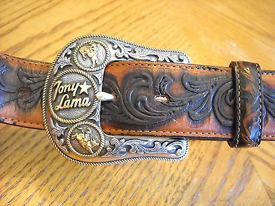 "TONY LAMA Brown/Black Embossed Leather Belt--1.5"" Wide--Size 34--USA Made--GREAT"