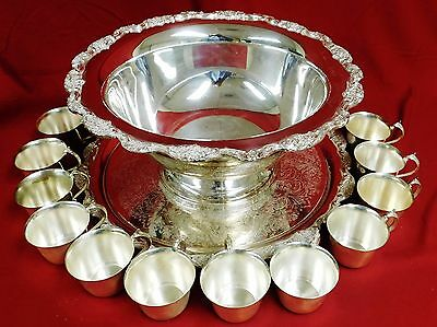 SALE! Ornate Towle Silver Plated Punch Bowl, Tray & 12 cups