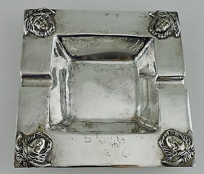 Vintage Silver Plate Square Ashtray Ash Tray W/ Medusa Or Mask Face