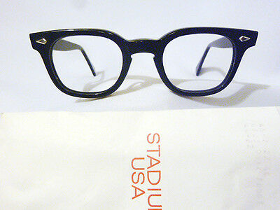 Vintage American Optical Arnel Style Hybrid in Black with Spear Shields 44-22