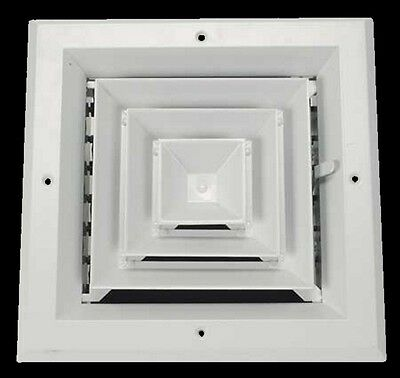 "10"" CEILING AC DIFFUSER Square White Aluminum 4-Way Duct Cover Air Vent HVAC"