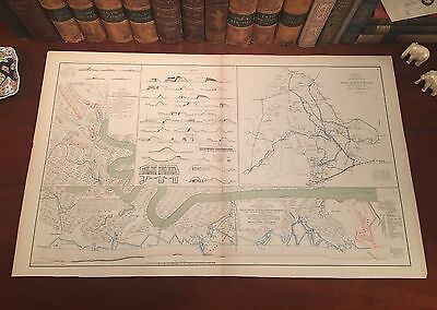 Original Antique Civil War Map SIEGE of CHARLESTON HARBOR South Carolina SC