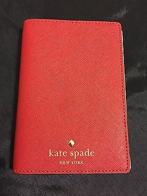 Nwt Kate Spade Mikas Pond Passport Holder Wallet Cover Pillbox Red
