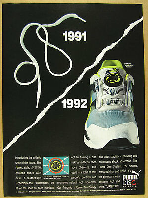 1992 Puma DISC SYSTEM Running Shoes photo laceless closure vintage print Ad