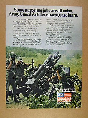 1977 US Army National Guard Artillery Recruitment howitzer firing photo print Ad