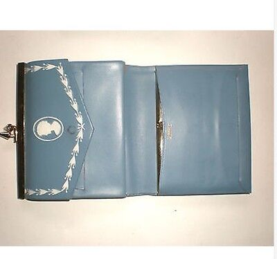 Vintage Amity Wallet Genuine Leather - Blue with White Cameo