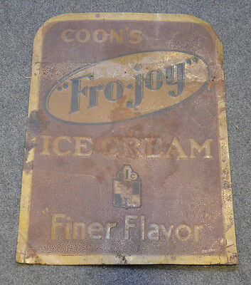 RARE Antique COON'S Fro Joy Ice Cream Dairy TIN ADVERTISING SIGN Old Dairy Sign