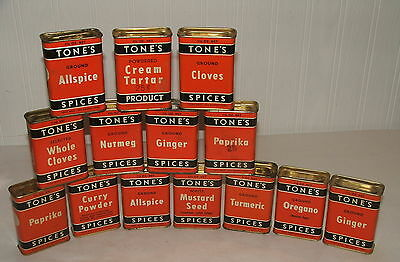 Vintage Lot Of 14 Tone's Spice Tins