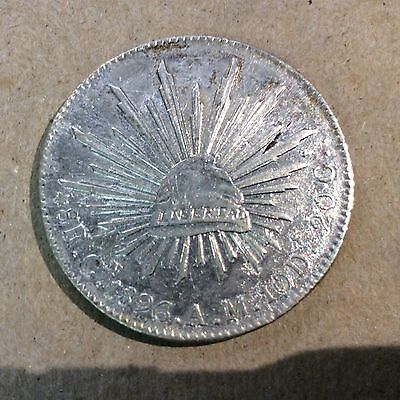 """MEXICO - CULIACAN MINT """"CAP & RAYS"""" 1896-Cn AM 8 Reales Extra Fine"""