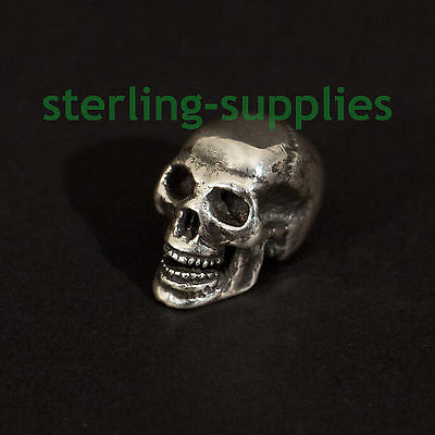 SOLID STERLING SILVER MINIATURE HUMAN SKULL HAND MADE in ENGLAND HALLMARKED NEW