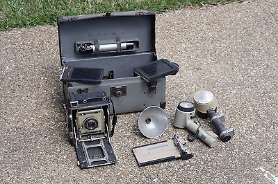 Graflex Crown Graphic 4x5 Camera lot w/ original case