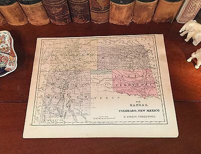 Original 1882 Antique Mitchell Map INDIAN TERRITORY Colorado KANSAS New Mexico