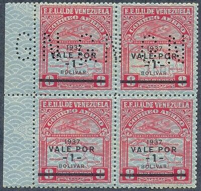 Venezuela 1937, Block of 2 Pairs, One w GN Perforation and other w/o, SC C45, NH