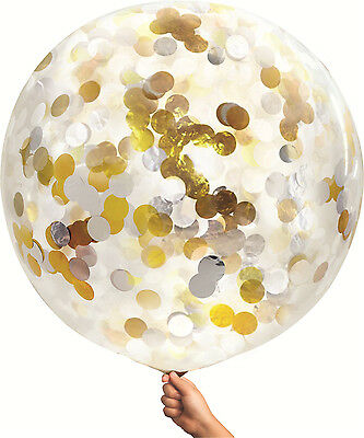 90cm Clear Balloon Gold Silver White Confetti Party Giant Jumbo Latex Helium 36""
