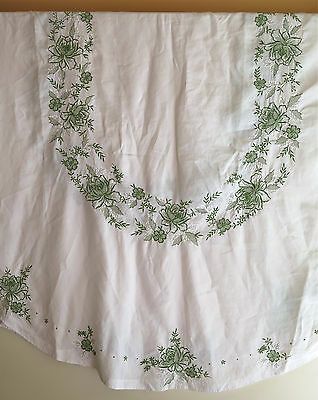 "Vintage Oval White Linen Tablecloth with Green Embroidery, Appliques  104"" x 70"""