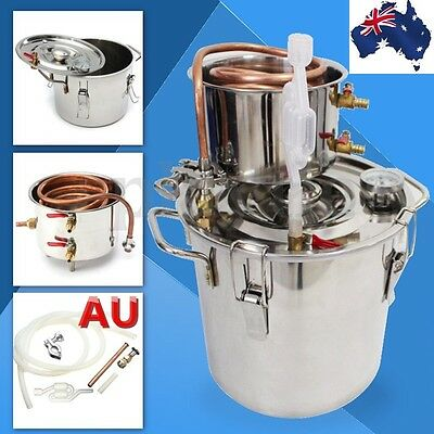 AU 10L-30L Alcohol Moonshine Water Copper Home Stainless Alcohol Distiller
