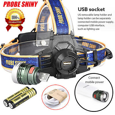 10000 Lumen XM-L T6 Headlamp Headlight Head Light LED Rechargeable USB+Battery